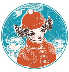 Winter doll vector image