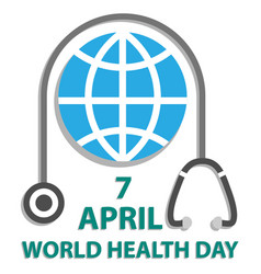 world health day concept with earth and vector image