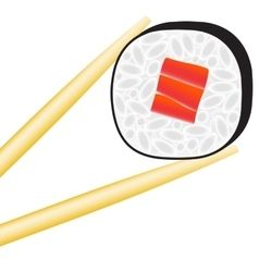 Sushi roll logo with stick vector image
