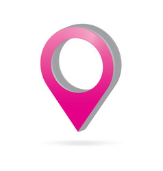 3d metal pink map pointer icon marker gps vector