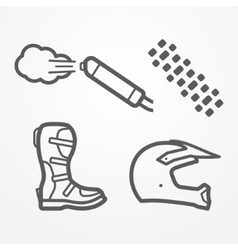 Cross motorcycle icons vector image
