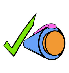 pen and green checkmark icon cartoon vector image vector image