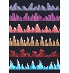 Seamless cartoon rocks and mountains vector image vector image