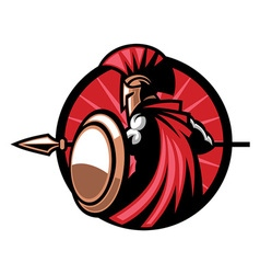Spartan mascot with the spear weapon vector image vector image