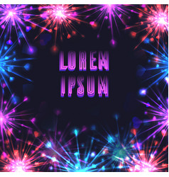 square frame with festive fireworks and a place vector image
