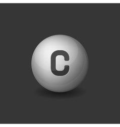 Vitamin C Silver Glossy Sphere Icon on Dark vector image vector image
