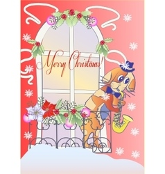 Blue Cat on a Roof of Winter Paris vector image