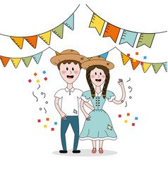 brazilian people celebrating festa junina with vector image vector image