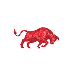 Bull Charging Drawing vector image vector image