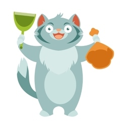Cat and his toilet equipment vector image