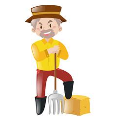 farmer wearing yellow shirt vector image