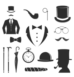 Gent icons set vector image