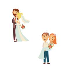 newlywed couple set isolated vector image vector image