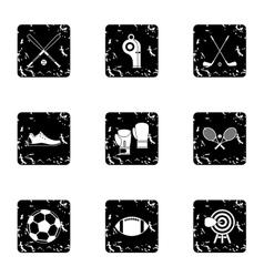 Sports stuff icons set grunge style vector image