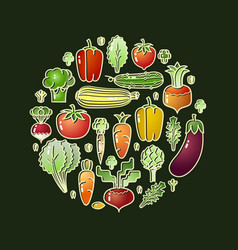 cartoon style vegetables organic food icons vector image vector image