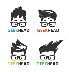 geeks and nerds set of logos vector image vector image