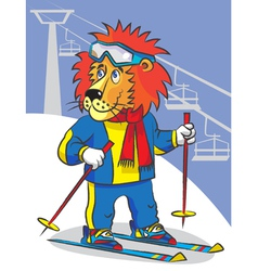 Lion is mountain skier vector image