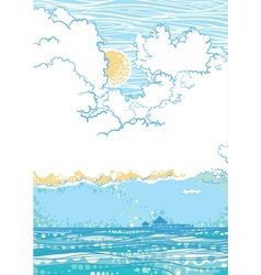 Seascape with clouds vector image