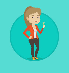 woman holding razor in hand vector image