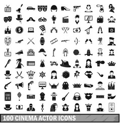 100 cinema actor icons set simple style vector