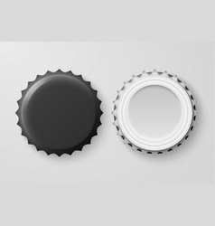 3d realistic black blank beer bottle cap vector
