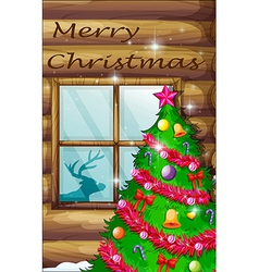 A christmas tree near the window vector image