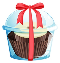 A cupcake inside a sealed container vector image vector image