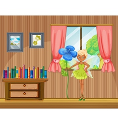 A fairy holding a flower inside the house vector