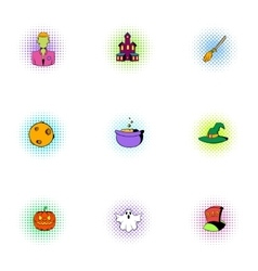 All saints day icons set pop-art style vector