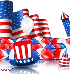 American Background with Balloons Party Hats vector image