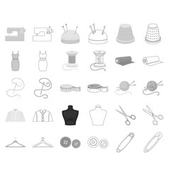 Atelier and sewing monochromeoutline icons in set vector