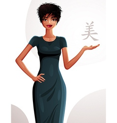 Attractive tanned standing girl showing at empty vector image