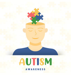 Autism awareness day kid head puzzle card vector