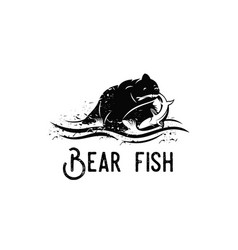 bear fish logo vector image