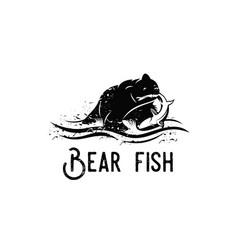 Bear fish logo vector