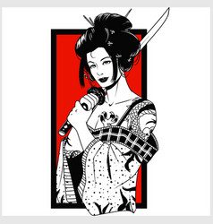 beautiful japanese geisha woman and traditional vector image