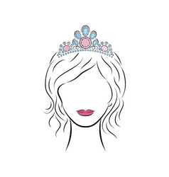 Beautiful young girl wearing a crown or tiara with vector