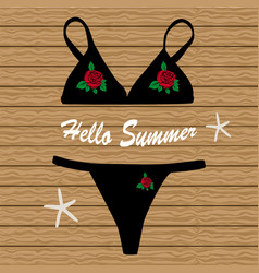 Black bikini with flowers vector