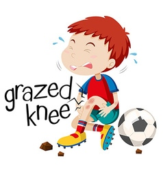Boy having grazed knee vector