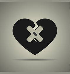 broken heart icon with two patches vector image
