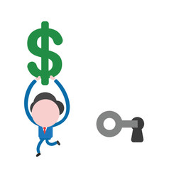 businessman character unlock keyhole with key and vector image