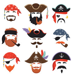 Carnival pirate mask funny sea pirates hats vector