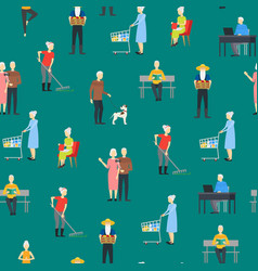 cartoon characters modern aged people seamless vector image