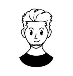 Cartoon man with goatee beard line style vector