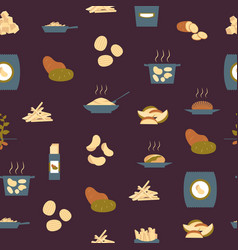 cartoon potato seamless pattern background vector image