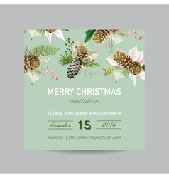 Christmas Invitation Card - in Watercolor Style vector