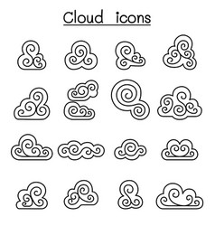 Cloud decoration cloud abstract cloud icon set in vector