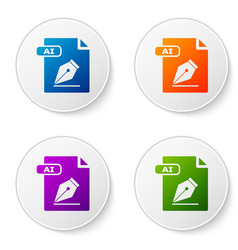 color ai file document download ai button icon vector image