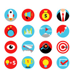 concept retro icon set of business startup vector image