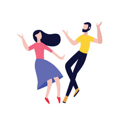 couple friends dancing flat vector image